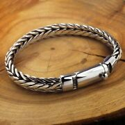 Men Braided Weave Chain Bracelet Toggle Clasp 925 Sterling Silver 18cm - 22cm