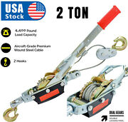 2 Ton Gear Hand Cable Puller Car Trailer Tow Hooks 4400 Lbs Come Along Tighter