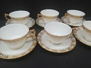 Royal Crown Derby Heraldic Gold A1066 Tea Cup Saucer Green Stamp 17 Sets England