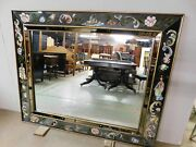 Vintage Hollywood Regency Chinoiserie Reverse Glass Painted Large Mirror 66 X 54