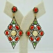 Antique 925 Sterling Silver Coral And Diamonds Cluster Earrings Christmas Gifts