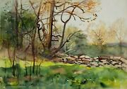 Watercolor On Paper Farm Stone Wall Maine By Egbert Cadmus American 1868-1939