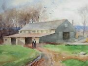 Watercolor On Paper Mom's Sawmill By Egbert Cadmus American 1868-1939
