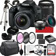 Canon Eos 2000d Rebel T7 Dslr Camera With 18-55mm F/3.5-5.6 Zoom Lens, 64gb...