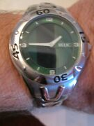 Menand039s Relic Zr55049 Watch - Rotating Green Face - Spectacular - Runs Great Bba8