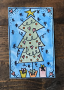 Watercolor Painting-christmas-contemporary Art-mini-paint-decorated Tree-heart