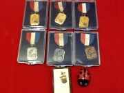Rare Aau 1959 Junior Olympics Swimming Medal Red White Blue Pin W/box Lot Of 8
