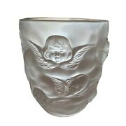 Vtg French Lalique-style Figural Cherub Angel Frosted Glass Vase 9 Great Gift