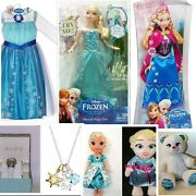 Disney Frozen Musical Elsaanna Doll And Elsa Costume 4-6xwatch And Necklace