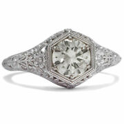 Vintage 0808 Ct Brilliant In 585 White Gold Ring / Diamond Engagement Ring