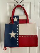Texas Pride Lone Star Flag Concealed Carry Tote With Wallet - Red White And Blue
