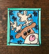 Watercolor Painting-christmas-contemporary Art-rudolph Red Nosed Reindeer-snow