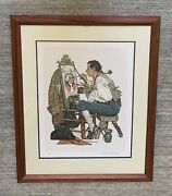 Norman Rockwell Original Hand Signed Lithograph Ye Pipe And Bowl Tavern 90/200