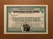 Edison Storage Battery Company Unissued Stock Certificate 1901 Scarce Invention