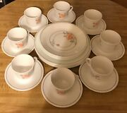 Discontinued Corelle Set 32pc Dinnerware Pink Gray Floral Design