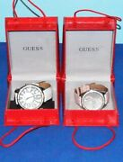 Lot Of 2 Guess Watches Fashion Bling Crystal Silver Tone Leather Bands Pre-owned