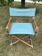 1950's Mcguire Turquoise Directors Chair Oak, Brass, Leather Nice