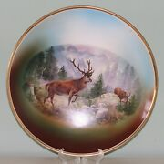 Two 13 Inch Deer Stag Bavarian German Vintage Wall Plaques Plates