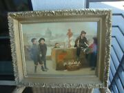 Antique French Oil Painting Early 20 Th Wood
