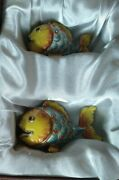 Nib Quest Vintage Yellow Fish Salt And Pepper Shakers