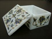 4 X 3 Inches Marble Jewelry Box With Tiger Eye Stone Inlaid Royal Decorative Box