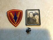 Ww2-marine Iwo Jima Metal Frame Photo Marines 5th Division Patch And Hat Badge