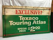 Vintage Texaco Touring Atlas Card Board Gas Station Sign Authentic Mid Century