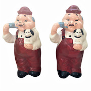 Lot Of 2 Vintage Ceramic Figurines Of Man Holding Dog 13 Tall