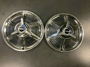 Ford Mustang Hubcaps Wheel Covers 1965 Factory Caps Set Of 2 W/ Spinners 987