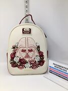 Disney Loungefly Star Wars Darth Vader Floral Cream Faux Leather Mini Backpack