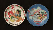 1981 Mickey Mouse Tokyo Disneyland Christmas Picture Plate 2 Pics 22cm