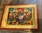 Vintage Last Supper, Christ And His Disciples - Christian Icon From Greece