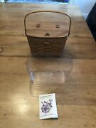 Vintage Longaberger 1992 Small Purse Basket W/leather Hinged Lid And Handle - Nice