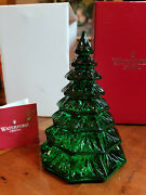 Waterford Crystal Christmas Tree Sculpture Green Euc Boxed 6.5 Solid