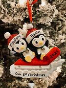 🛷name Personalized Christmas Ornament Penguins Sleight Sled Couple Family 2020