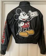 Rare 90s Mickey Mouse Black Leather Bomber Jacket M Medium Great Condition