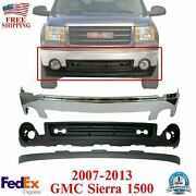 Front Chrome Steel Bumper + Valance + Extension For 2007-2013 Gmc Sierra 1500