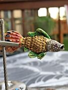 18kt Yellow Gold Made In Italy Enamel And Diamond Fish Brooch - Estate
