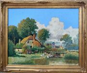 Oil Painting Dutch Farm, Impasto Oil On Canvas By May Betz 1951 - Framed