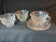 Lot Fostoria American Clear Glass Three Cups One Saucer