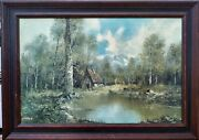 Oil Painting Seclusion Oil On Canvas By Lorenz 1950-1965 +/- Framed