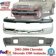 Front Bumper Chrome + Lower Valance + Upper Cover For 03-06 Chevy Silverado 1500