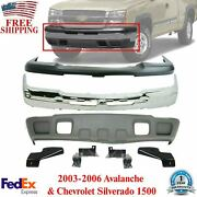 Front Bumper Chrome Steel Kit For 2003-2006 Chevy Silverado And Avalanche 1500