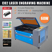 Omtech Co2 Laser Engraver 60w 24x16 Cutting Engraving Machine With Rotary Axis