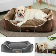 Dog Pet Basket Bed With Massive Soft Fleece Comfy Fabric Washable Cat Cosy Dogs