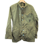 S53 Vintage 1940s Military Usmc Marine Field Army Button Jacket Green Menand039s