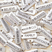 Word Tags Pendant Charms Antique Silver Blessed Believe Diy Pendant Accessories