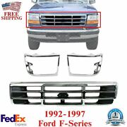 Front Grille Chrome + Head Light Door Pair For 1992-1997 Ford F-series / Bronco