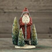 Beautiful Primitive Festive Vintage Christmas Red Belsnickle Santa With Trees