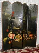 Large Antique Style French Four Panel Hand Painted Peacock Fruit Screen Divider